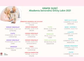 GRAFIK ZAJĘĆ – AKADEMIA SENIORALNA GMINY LUBIN 2021